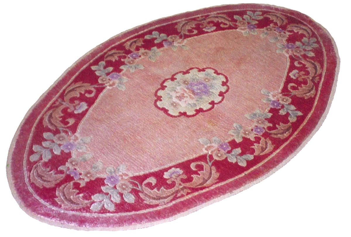 Oval silk rug after cleaning
